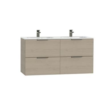 Tiger Studio badkamermeubel 120 cm naturel eiken met wastafel dubbel keramiek hoogglans wit greep rvs plat
