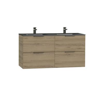 Tiger Studio badkamermeubel 120 cm chalet eiken met wastafel dubbel polybeton mat mat zwart greep rvs plat
