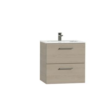 Tiger Studio badkamermeubel 60 cm naturel eiken met wastafel keramiek hoogglans wit greep rvs rechthoekig