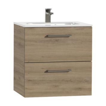 Tiger Studio badkamermeubel 60 cm chalet eiken met wastafel polybeton hoogglans wit greep rvs afgerond
