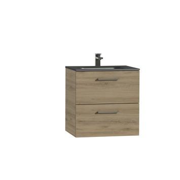 Tiger Studio badkamermeubel 60 cm chalet eiken met wastafel polybeton mat zwart greep rvs rechthoekig