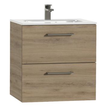 Tiger Studio badkamermeubel 60 cm chalet eiken met wastafel keramiek hoogglans wit greep rvs afgerond