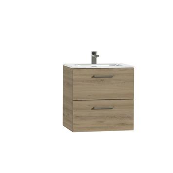 Tiger Studio badkamermeubel 60 cm chalet eiken met wastafel keramiek hoogglans wit greep rvs rechthoekig