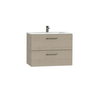 Tiger Studio badkamermeubel 80 cm naturel eiken met wastafel keramiek hoogglans wit greep rvs rechthoekig