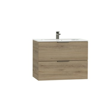 Tiger Studio badkamermeubel 80 cm chalet eiken met wastafel polybeton hoogglans wit greep rvs plat