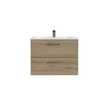 Tiger Studio badkamermeubel 80 cm chalet eiken met wastafel polybeton mat wit greep rvs rechthoekig