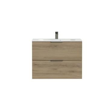 Tiger Studio badkamermeubel 80 cm chalet eiken met wastafel polybeton mat wit greep rvs plat