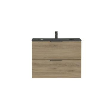 Tiger Studio badkamermeubel 80 cm chalet eiken met wastafel polybeton mat zwart greep rvs plat