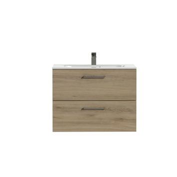 Tiger Studio badkamermeubel 80 cm chalet eiken met wastafel keramiek hoogglans wit greep rvs afgerond