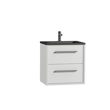 Tiger Boston badkamermeubel 60 cm hoogglans wit met greep chroom en wastafel zwart