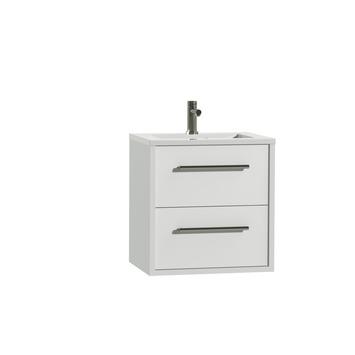 Tiger Boston badkamermeubel 60 cm hoogglans wit met greep rvs en wastafel hoogglans wit