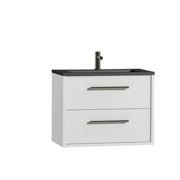 Tiger Boston badkamermeubel 80 cm hoogglans wit met greep rvs en wastafel zwart