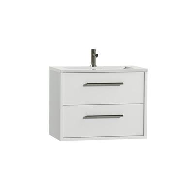 Tiger Boston badkamermeubel 80 cm hoogglans wit met greep rvs en wastafel hoogglans wit