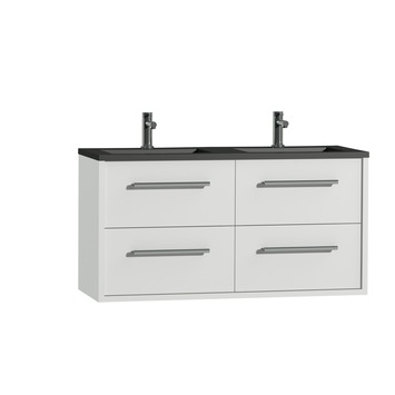 Tiger Boston badkamermeubel 120 cm hoogglans wit met greep chroom en wastafel dubbel zwart