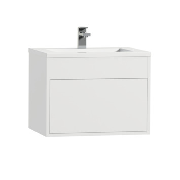 Tiger Helsinki badkamermeubel 60 cm hoogglans wit met wastafel polybeton wit