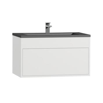 Tiger Helsinki badkamermeubel 80 cm hoogglans wit met wastafel polybeton zwart