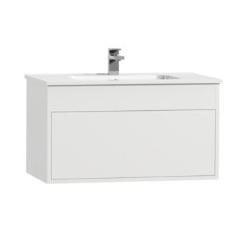 Tiger Helsinki badkamermeubel 80 cm hoogglans wit met wastafel keramiek wit