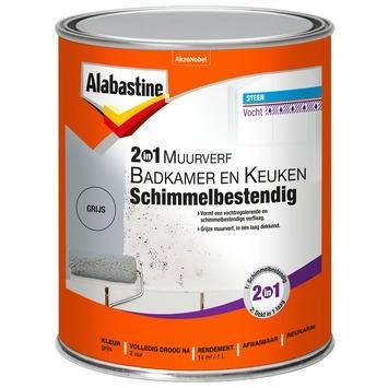 Alabastine 2in1 muurverf  badkamer & keuken grijs schimmelbestendig 1 l
