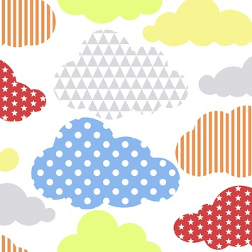 Vliesbehang wolken multicolour (dessin 100113)