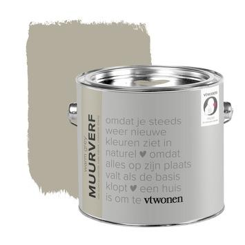 vtwonen muurverf krijtlook mat warm grey 2,5 liter