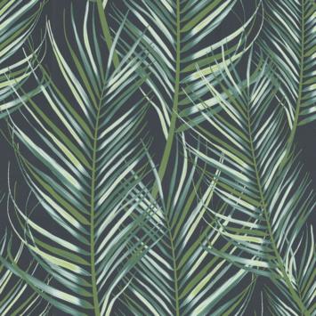 Vliesbehang palmen blauw/groen (dessin 100558)