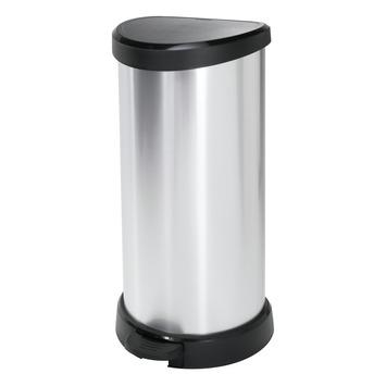 Ecobin pedaalemmer 40L zilver metallic