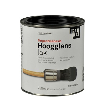 KARWEI lak hoogglans antraciet grijs extra dekkend 750 ml
