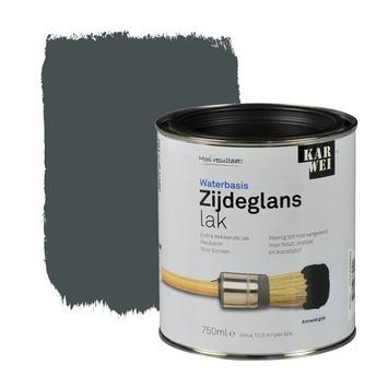 KARWEI lak waterbasis zijdeglans antraciet grijs extra dekkend 750 ml