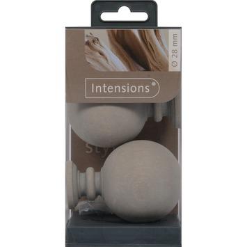Eindknop Bol voor 28 mm gordijnroede hout grijs 2 stuks
