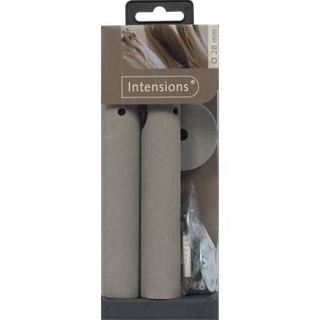 Oplegsteun voor 28 mm gordijnroede hout grijs 2 stuks