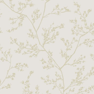 Vliesbehang springtime taupe - goud (dessin 100505)
