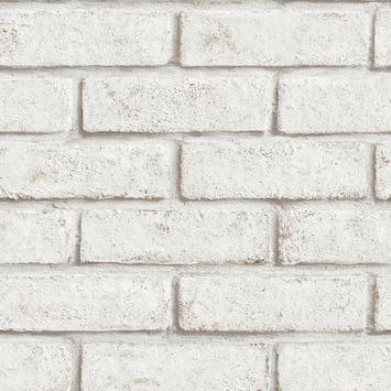 Vliesbehang rode baksteen, wit geschilderd (dessin 103453)