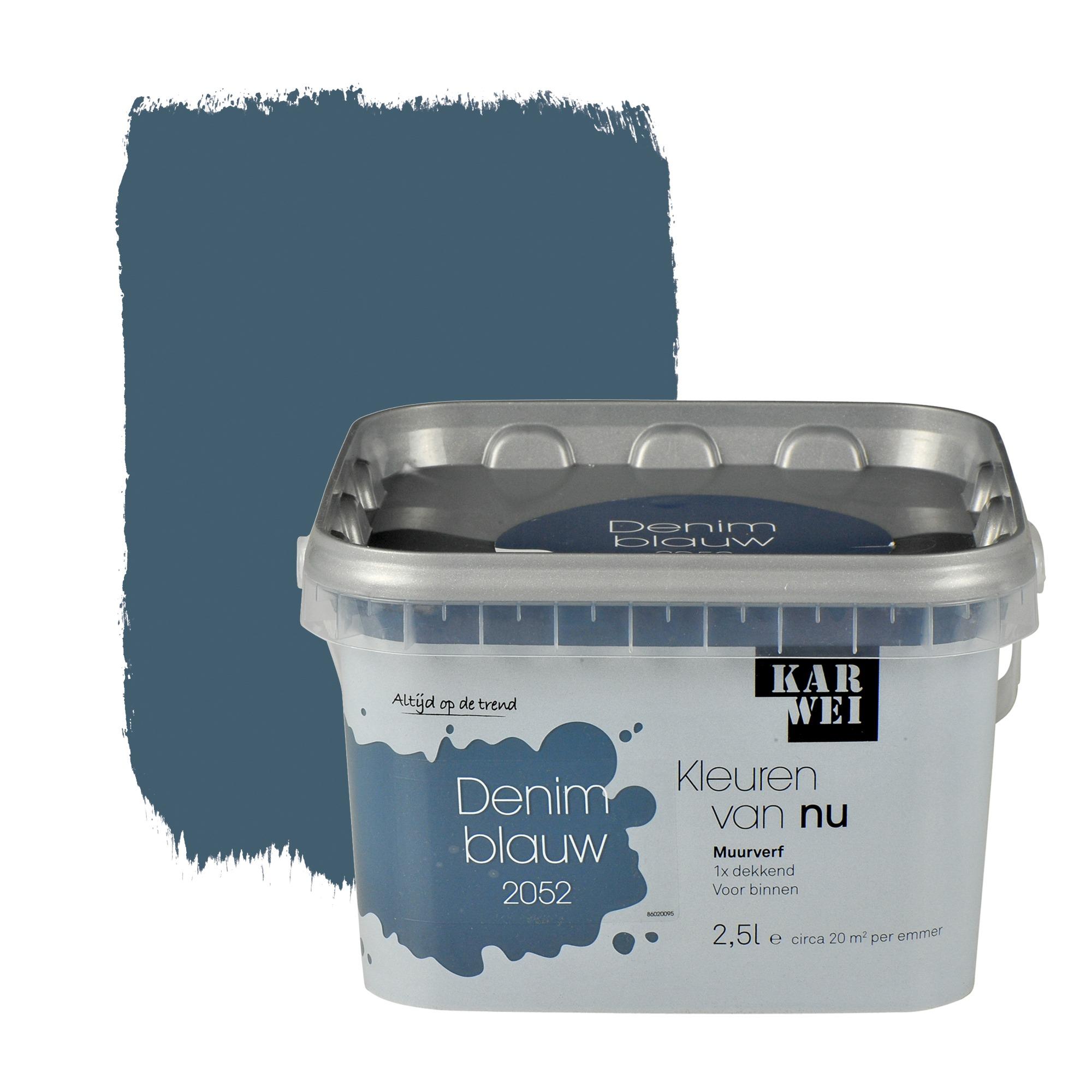 Karwei kleuren van nu muurverf mat denimblauw 2 5 l for Petrol verf