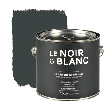 Le Noir & Blanc muurverf extra mat charcoal black 2,5 l