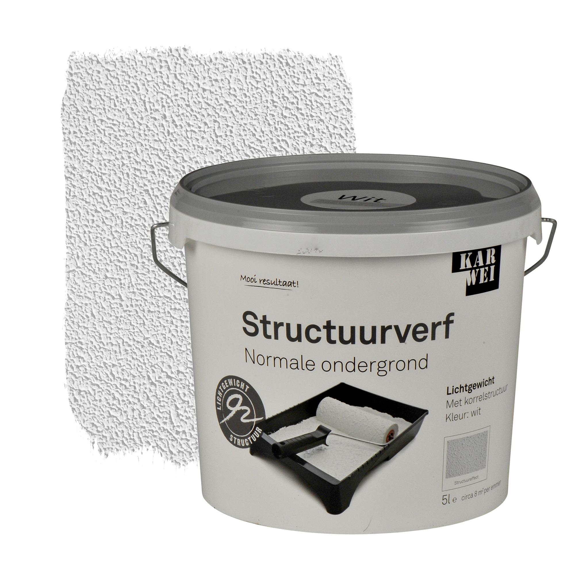 KARWEI muur- en plafond structuurverf mat wit 5 l