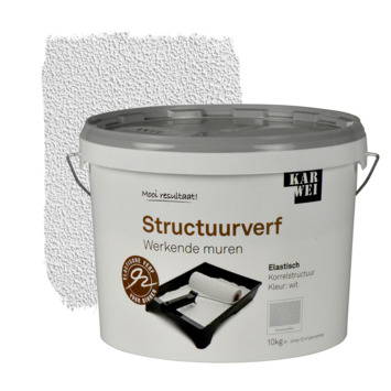 KARWEI muur- en plafond structuurverf werkende muren wit 10 kg