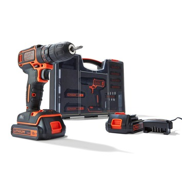 Black + Decker accuboormachine BDC718AS20-QW + 80-delige accessoireset