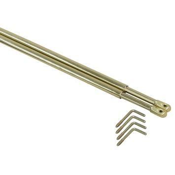 Roede set vitrage goud uitschuifbaar 80-120 cm