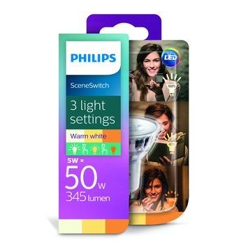 Philips LED spot GU10 50W Scene Switch (3 lichtstanden)