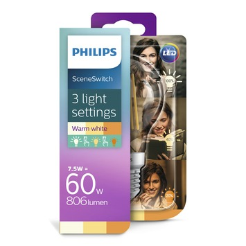 Philips LED filament peer E27 60W Scene Switch (3 lichtstanden)