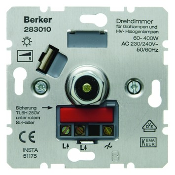 Berker S.1 Inbouw Dimmer 230V Gloei/Halogeen Druk 60-400W
