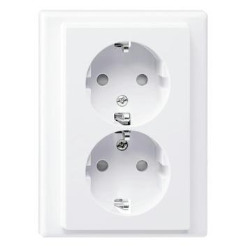 Merten System-M Pure inbouw dubbel geaard Stopcontact actief Wit