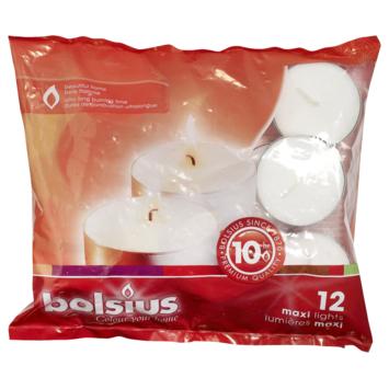 Bolsius maxilicht 10 uur wit zak 12 stuks