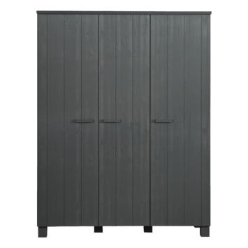 WOOOD hang/legkast Dennis 3-deurs 202x158x55 cm, staalgrijs