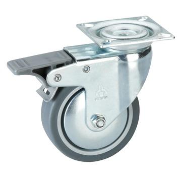 Zwenkwiel TPE met rem en plaatbevestiging Ø 75 mm max. 50 kg