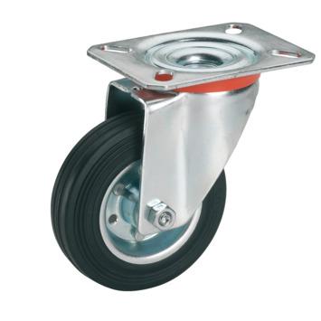 Zwenkwiel Rubber met plaatbevestiging Ø 125 mm max. 100 kg