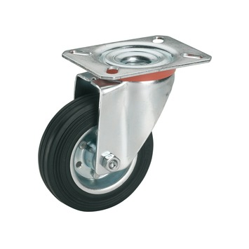 Zwenkwiel Rubber met plaatbevestiging Ø 80 mm max. 50 kg