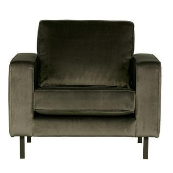 WOOOD fauteuil Robin warmgroen fluweel gestoffeerd