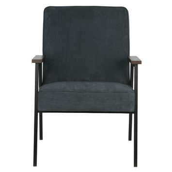 WOOOD fauteuil Sally ribcord staalblauw