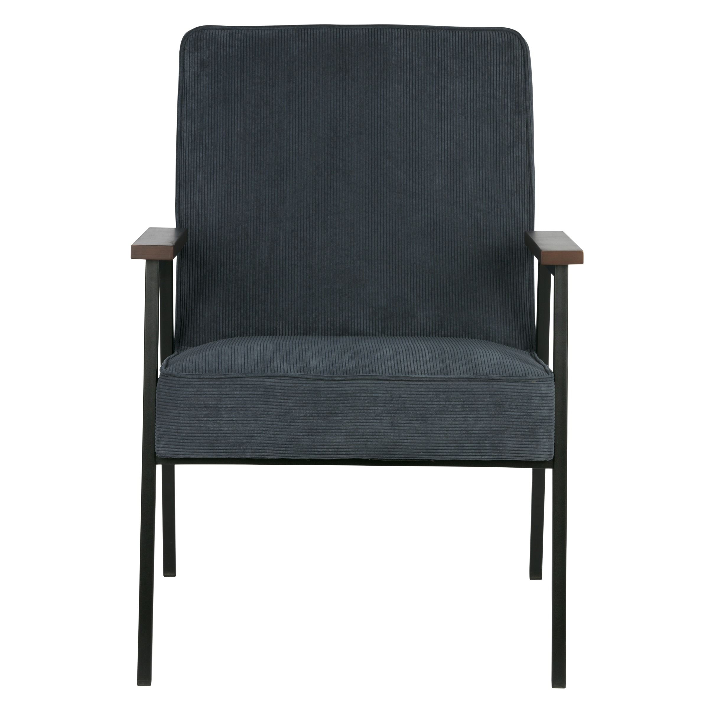 WOOOD fauteuil Sally ribcord staalblauw